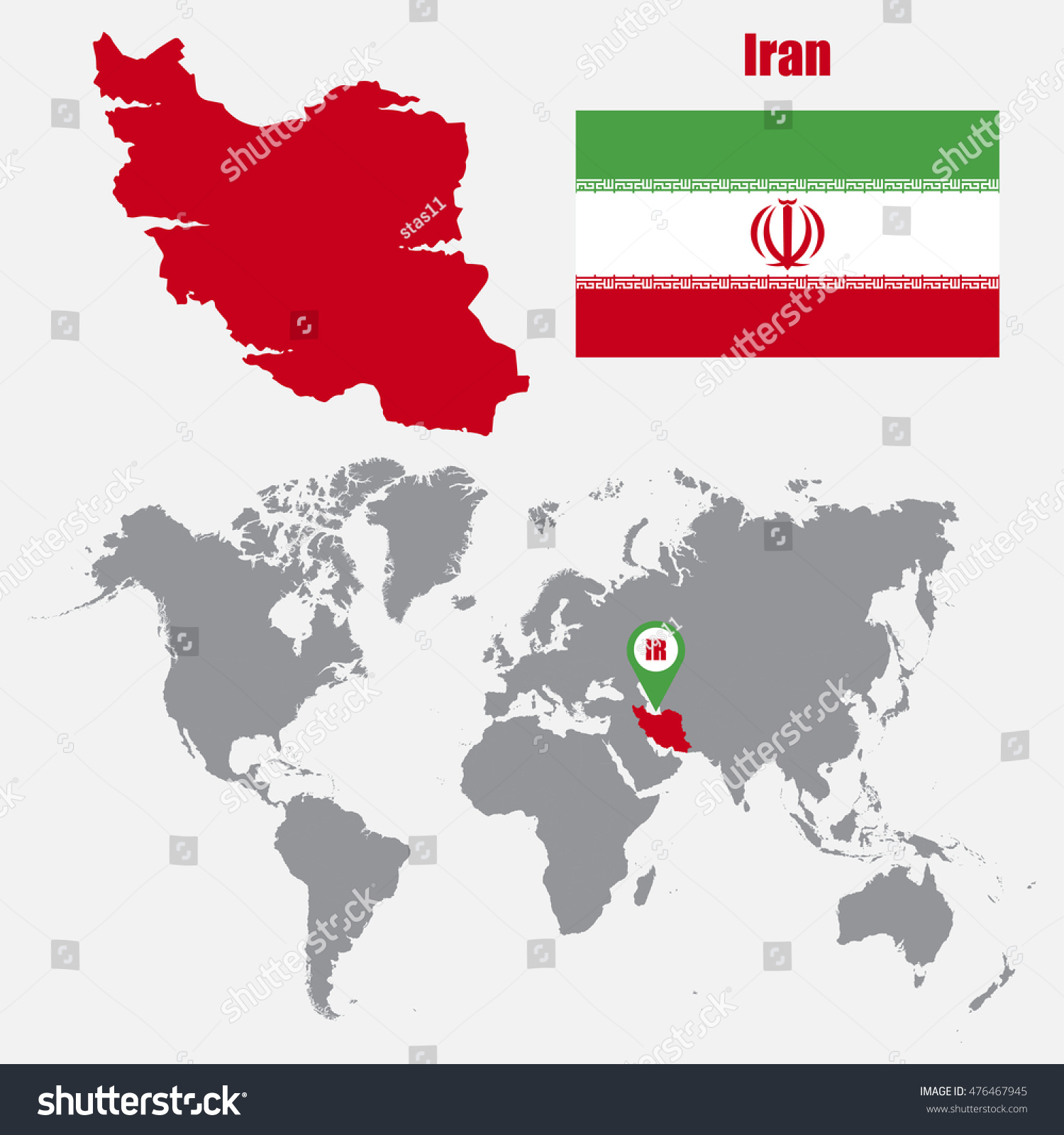 Image of: Iran Map On World Map Flag Stock Vector Royalty Free 476467945