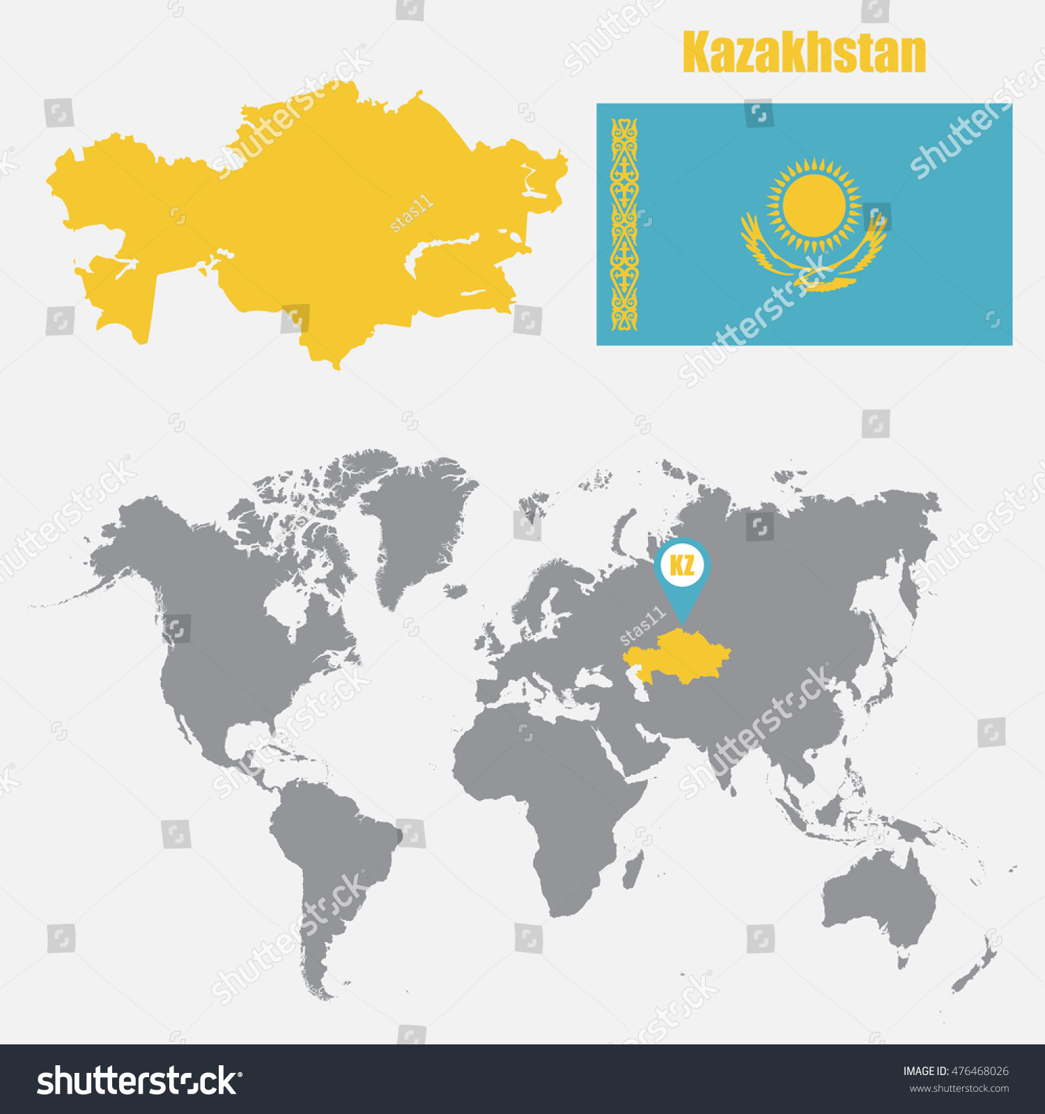 Kazakhstan map on world map flag stock vector 476468026 shutterstock kazakhstan map on a world map with flag and map pointer vector illustration gumiabroncs Choice Image