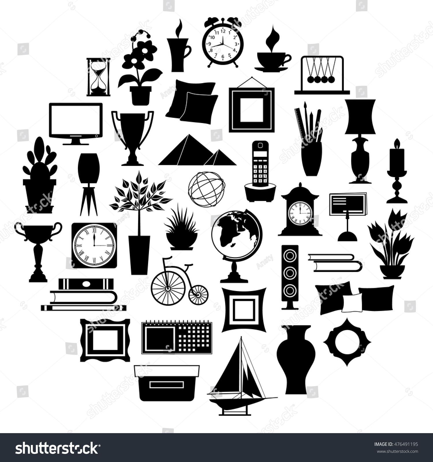 Silhouette Of Home Decor Set Of Accessories Icons And Souvenirs Isolated On White Background