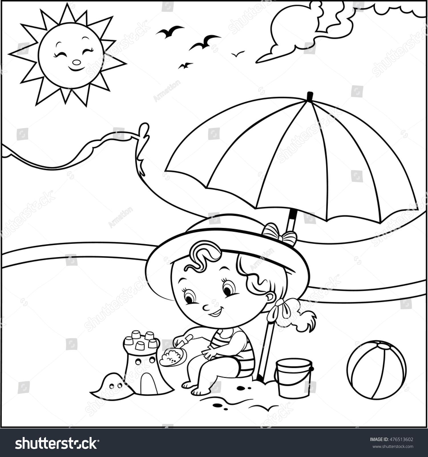 Coloring Book Summer Concept Child Vector Stock Vector