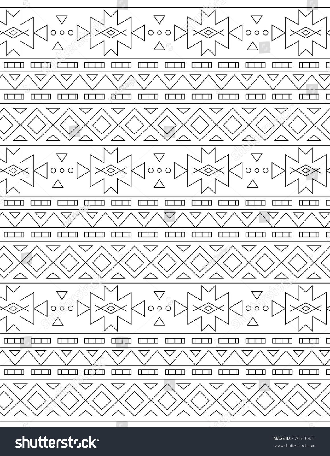 Outline Antistress Aztec Coloring Pages Adults Stock Vector Aztec Coloring Pages