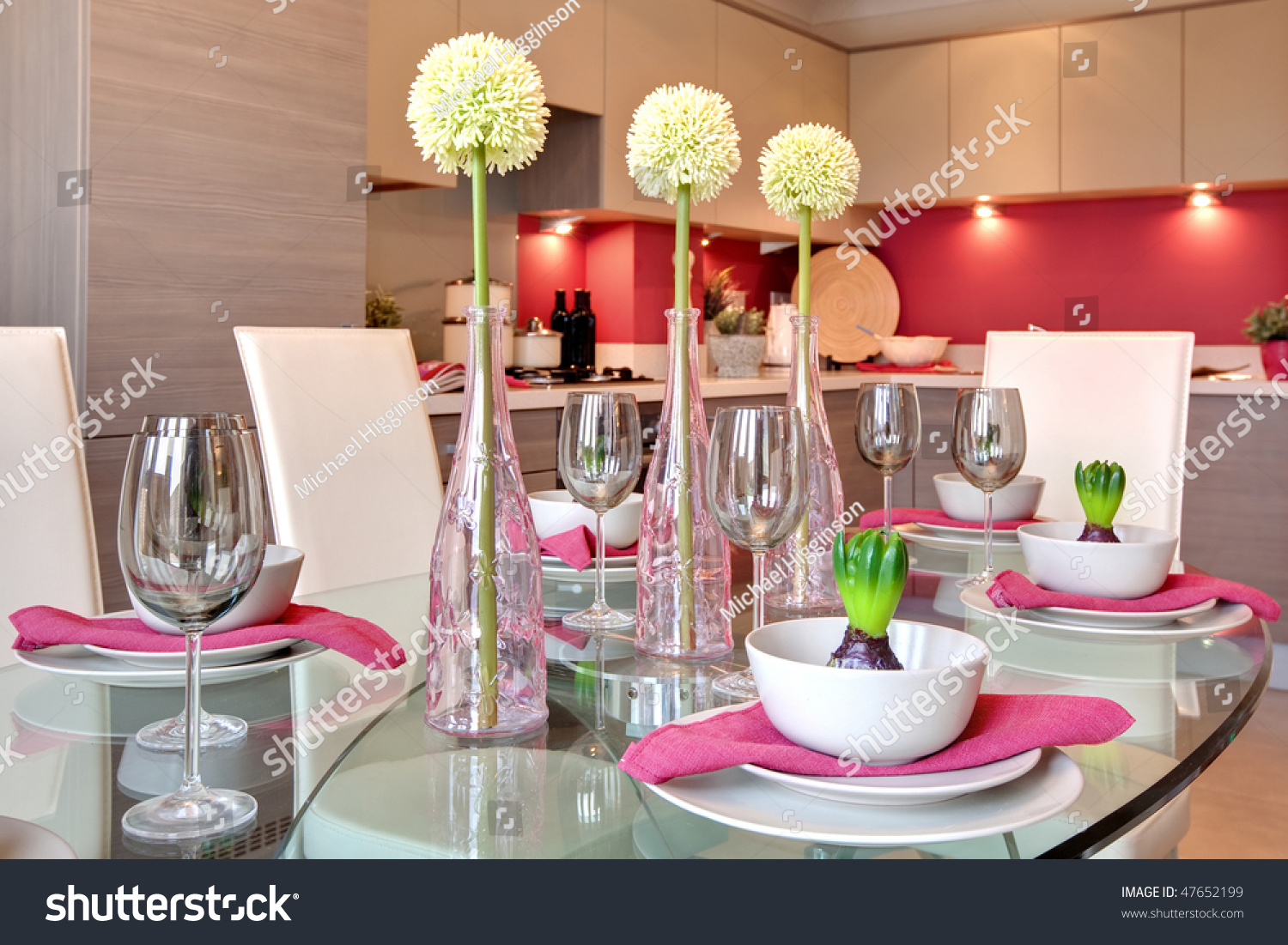Dinner table background - Glamorous Table Setting Ready For Dinner Party With Kitchen Background