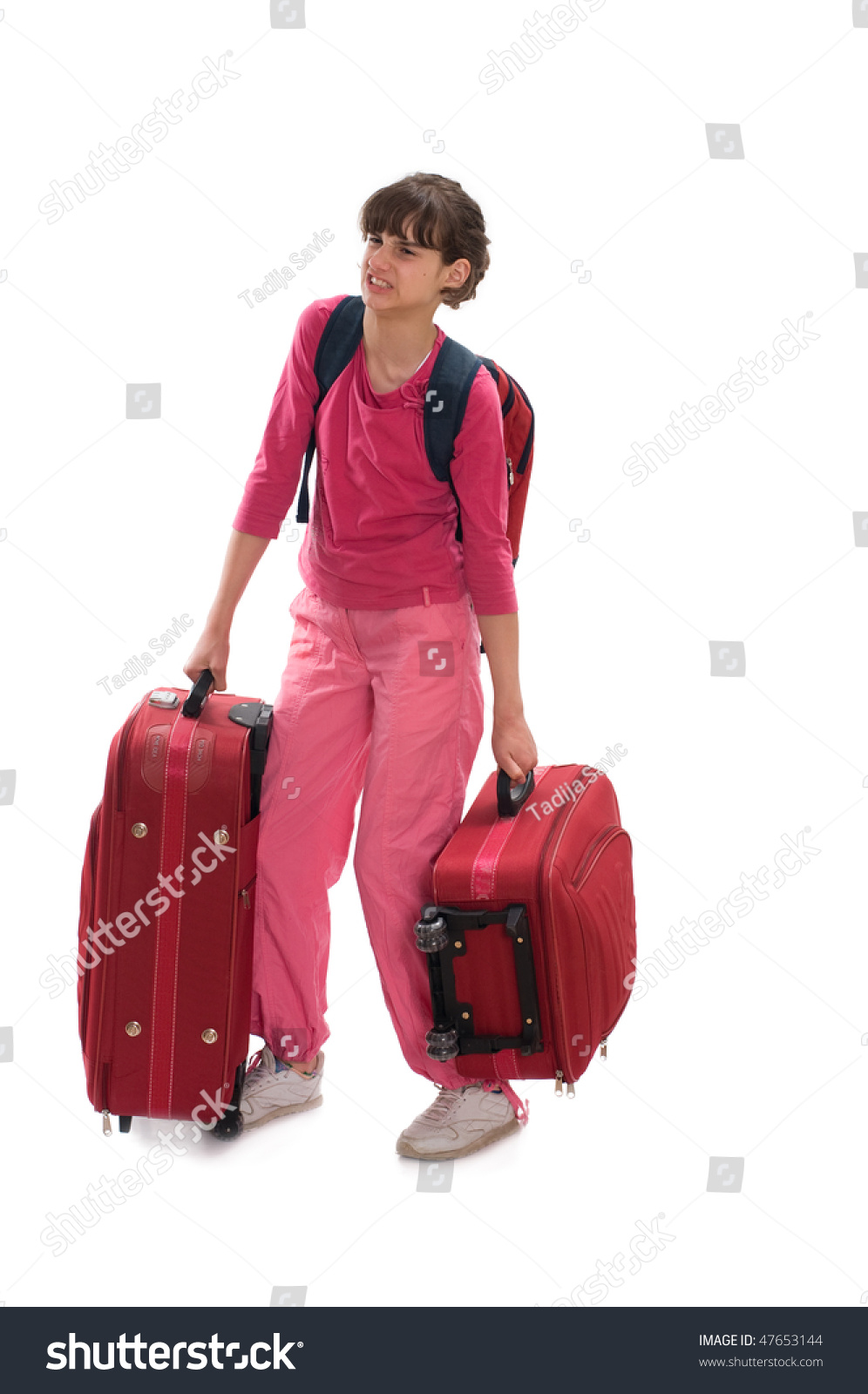 Young Teenager Carry Heavy Huge Luggages Stock Photo ...