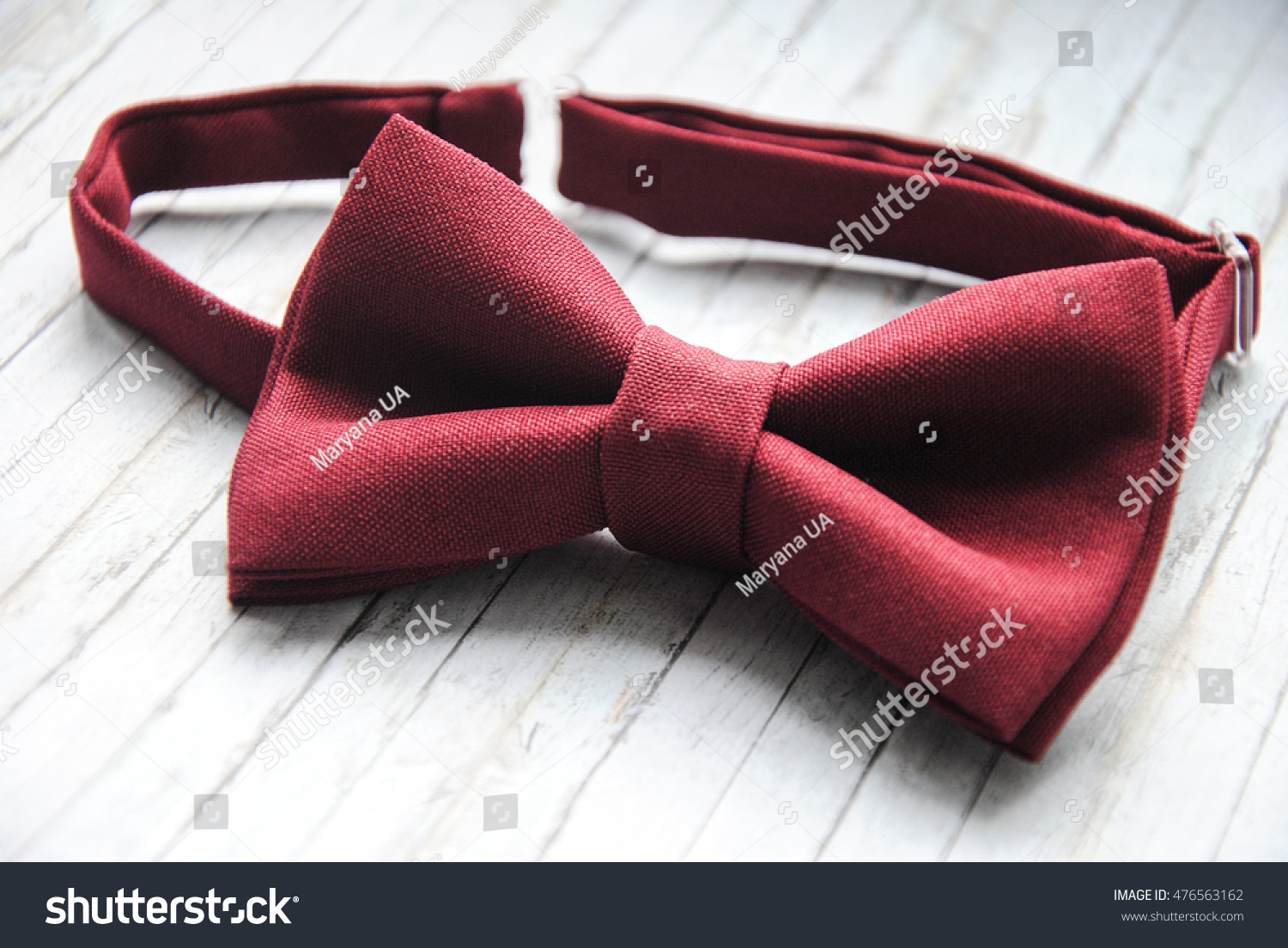 Red Marsala Bowtie On Wooden Background Stock Photo ...