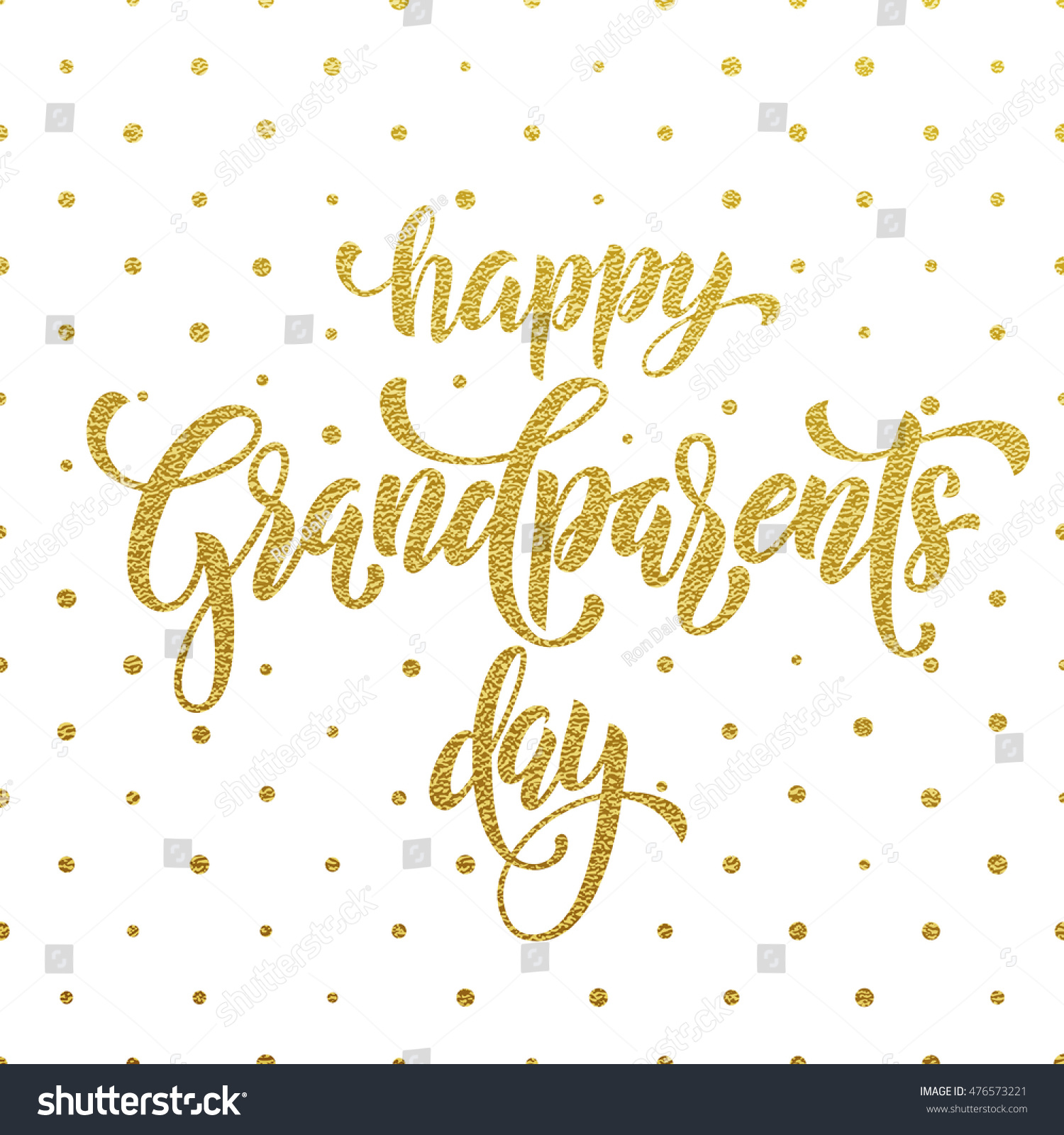 Happy Grandparents Day Golden Lettering Grandfather Stock Vector