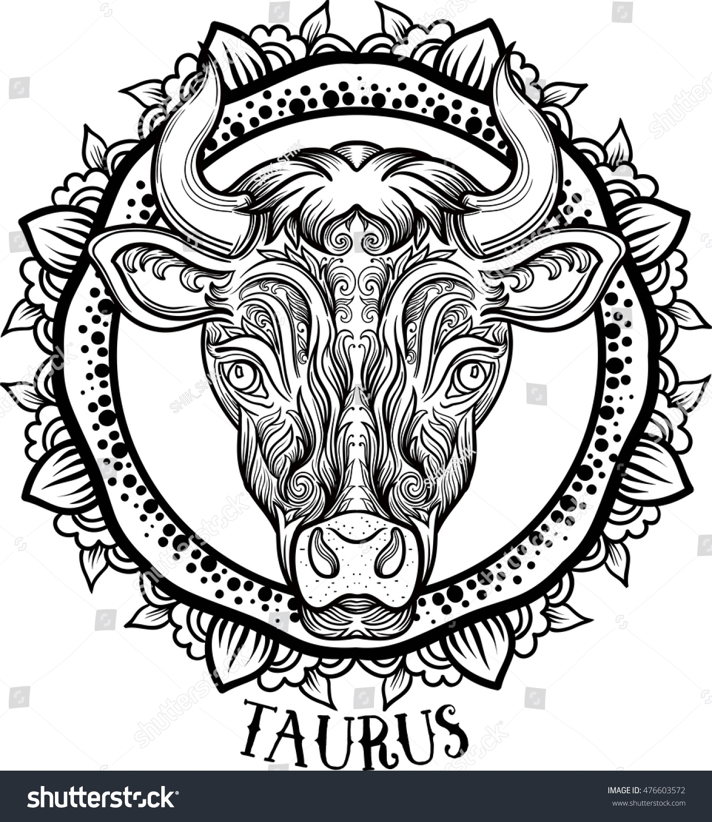 Detailed Taurus In Aztec Filigree Line Art Zentangle Style Tattoo Coloring Page For Adult