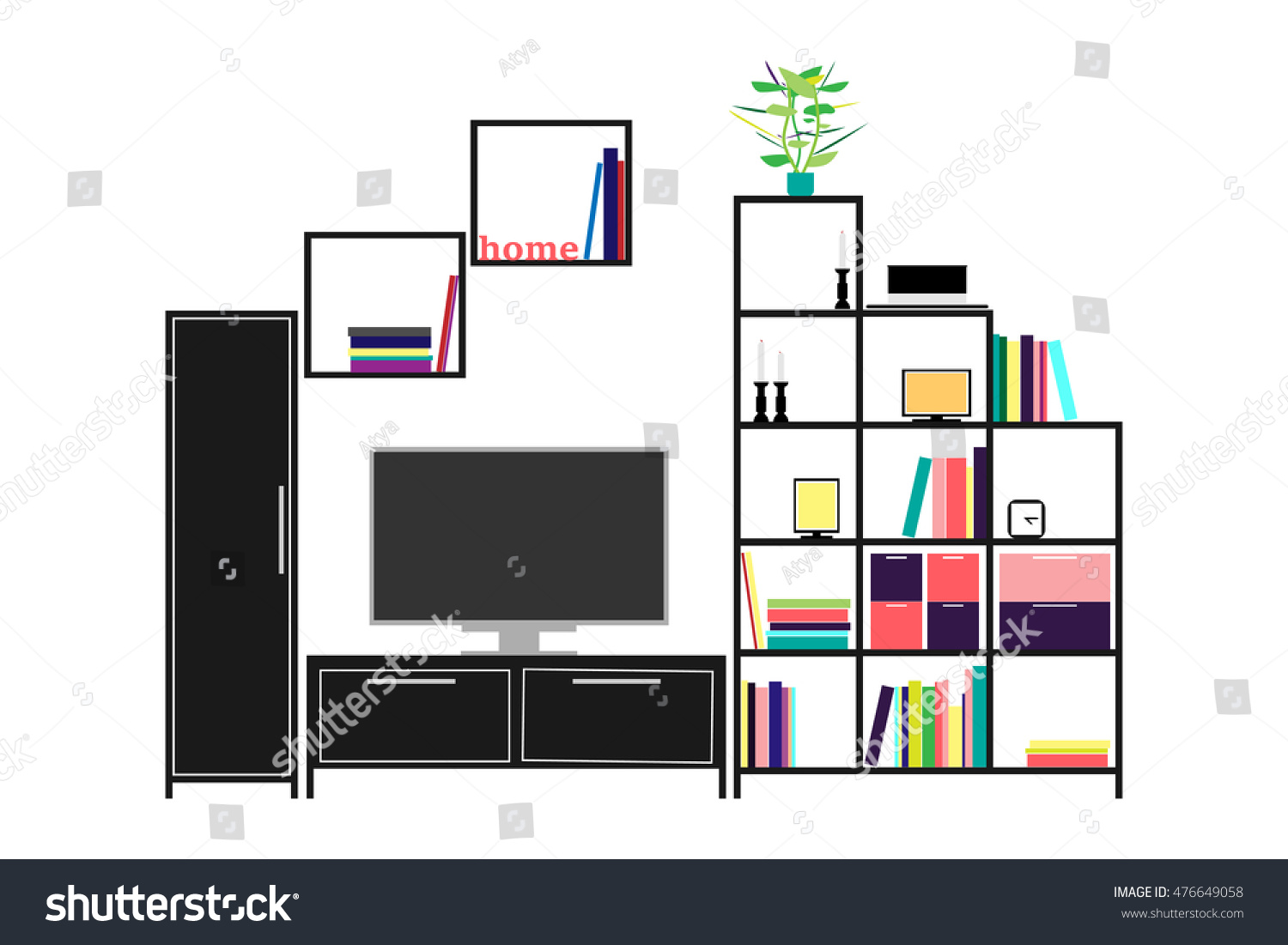 Living Room Sweet Home Interior Design Stock Vector 476649058  # Meuble Tv Swithome