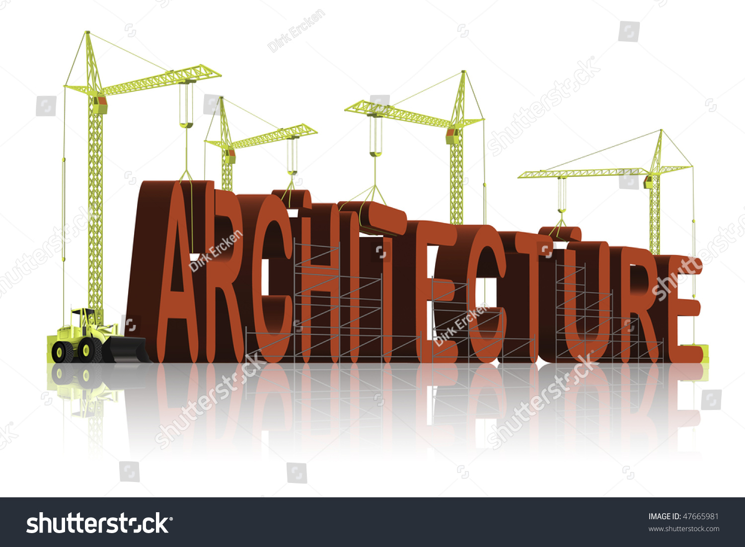 Architecture Under Construction In 3D Words The Creation Of Architect Building A House Or Apartment
