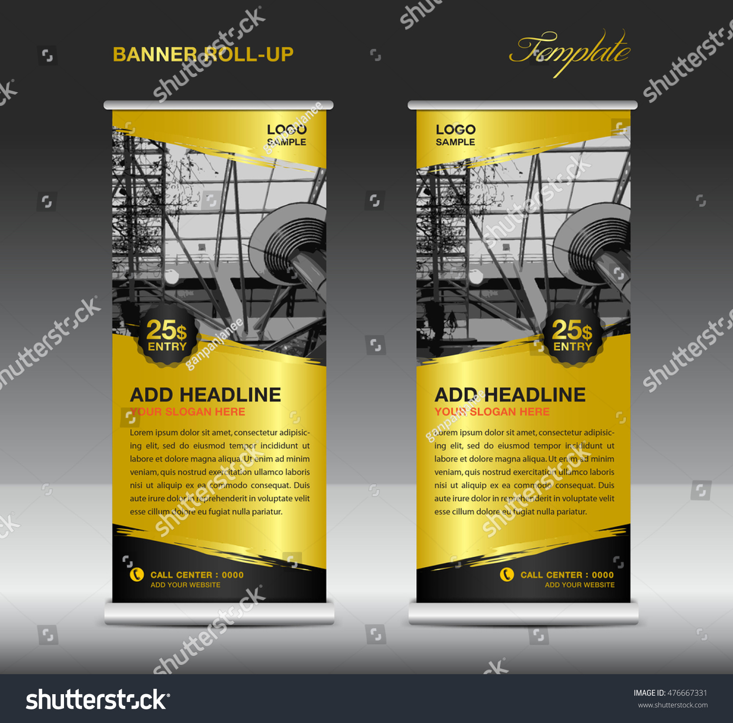 gold roll up banner template vector roll up stand flyer gold roll up banner template vector roll up stand flyer advertisement polygon