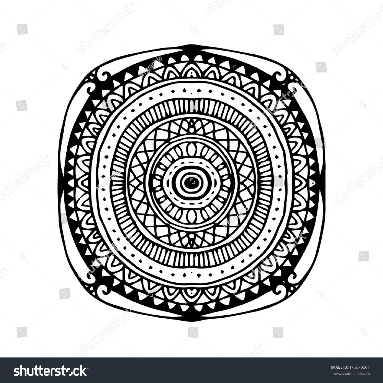Vector Hand Draw Of Abstract Circle Doodle Flower Ornament In How To Draw  Zen Flowers Solution
