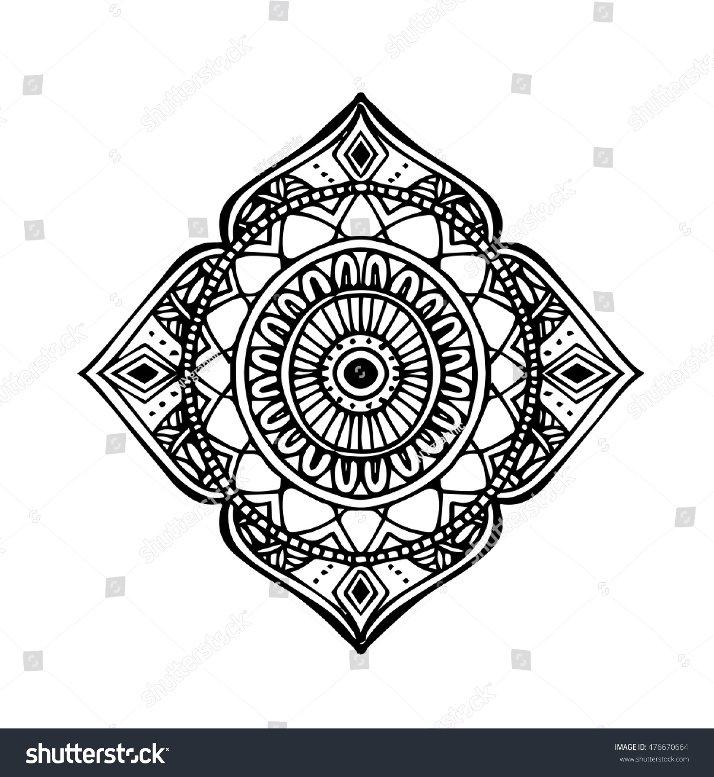 Vector Hand Draw Of Abstract Circle Doodle Flower Ornament In Zentangle  Style
