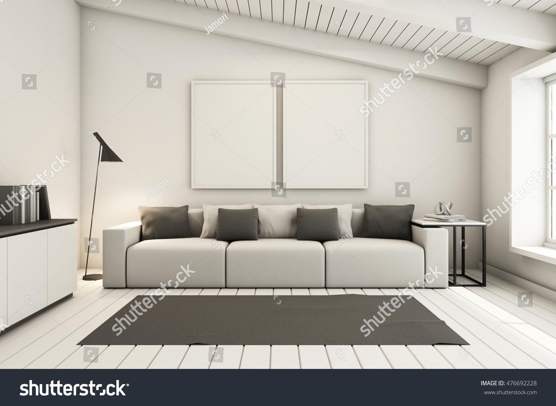 Livingroom Under Roof Interior Design Modern Stock Illustration 476692228