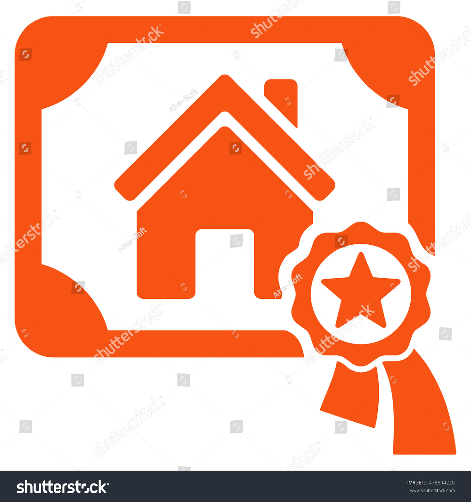Realty Certification Icon Vector Style Flat Stock Vector Royalty