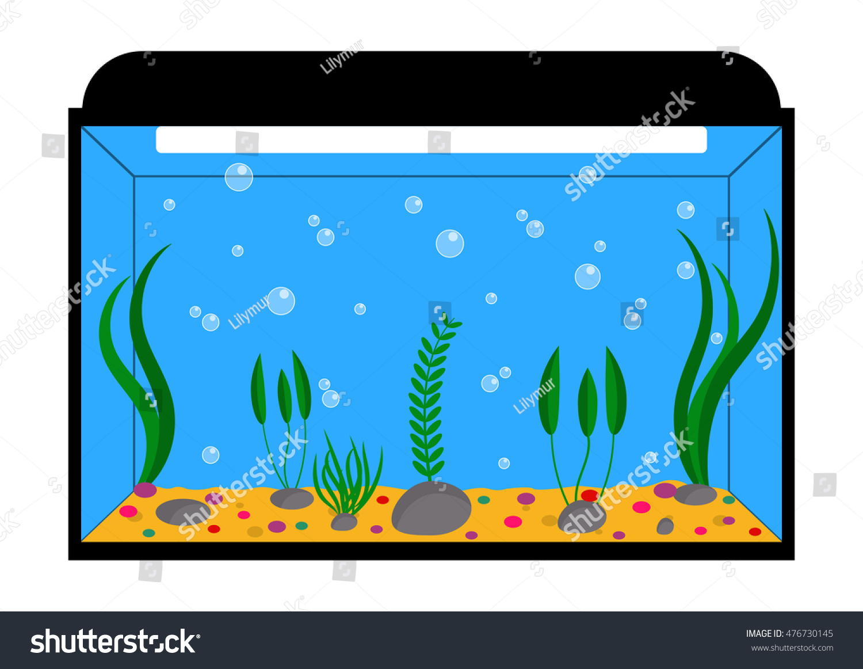 empty aquarium algae vector illustration stock vector 476730145 rh shutterstock com aquarium clip art pictures aquarium clipart