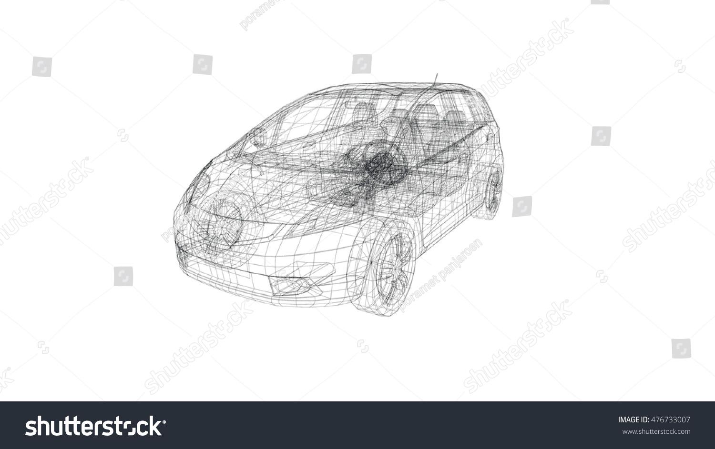 Car Model Body Structure Wire Model Stock Illustration 476733007 ...