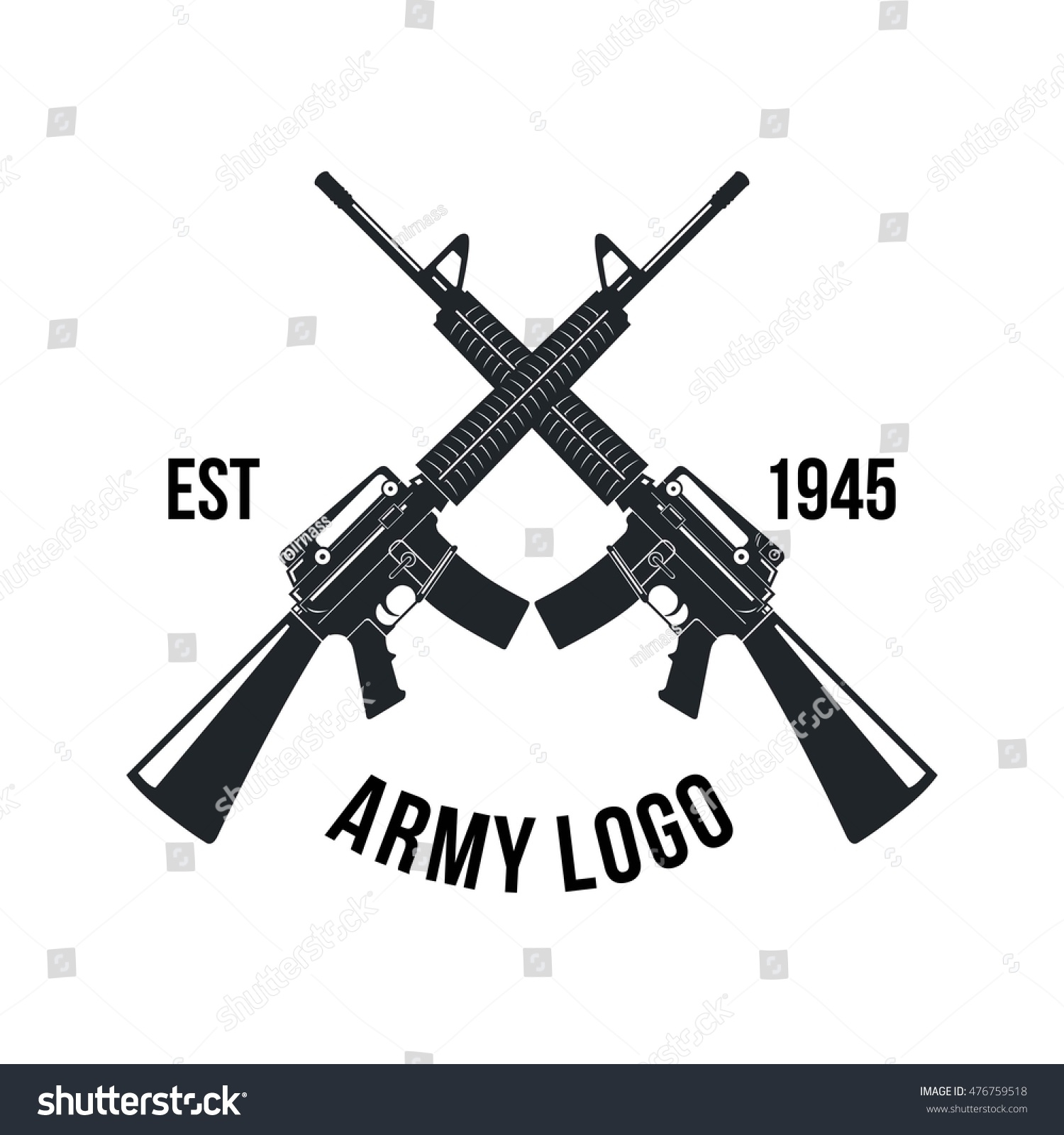gun store shooting club army badge stock vector 476759518