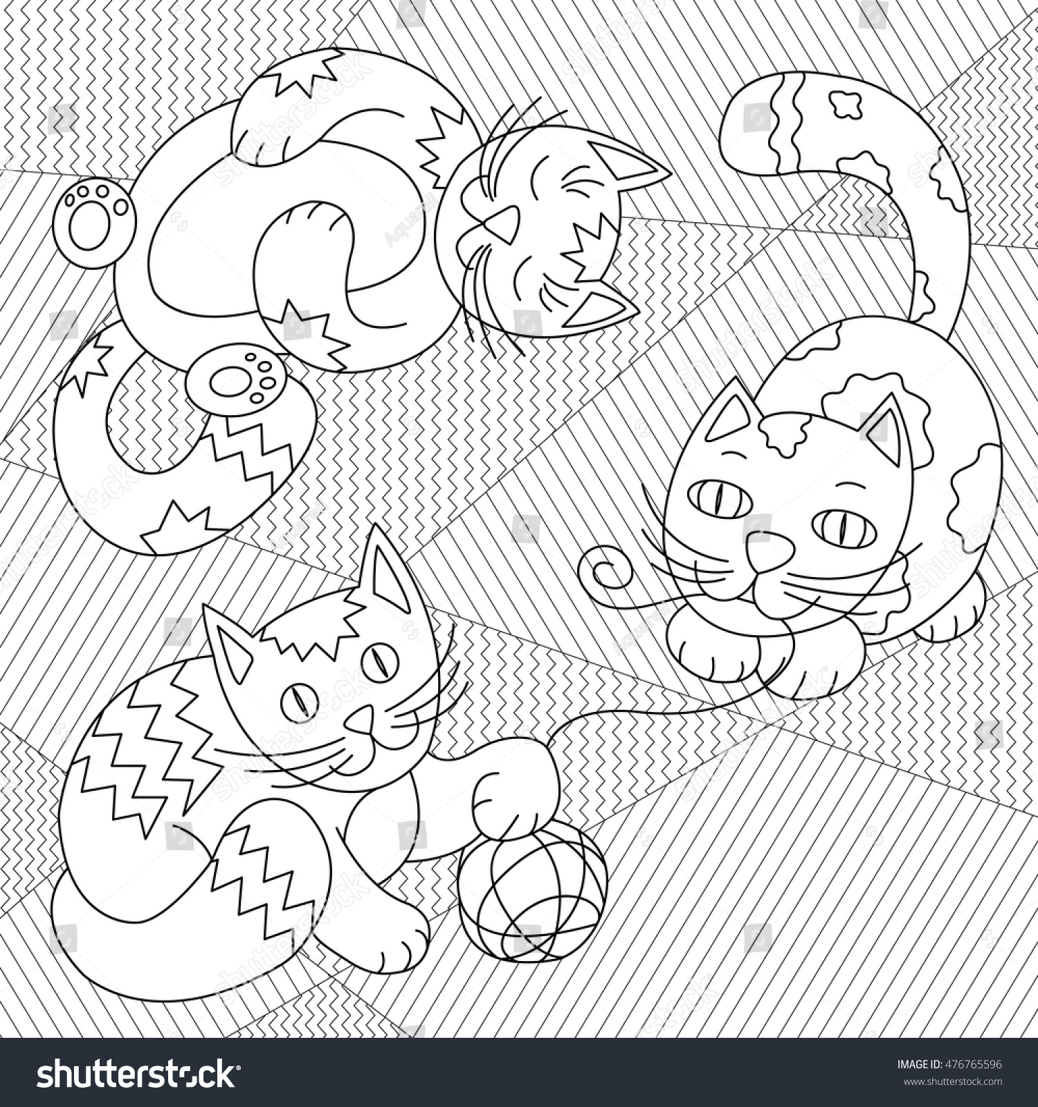 Cute Cats Playing Clew On Striped Stock Vector 476765596 - Shutterstock