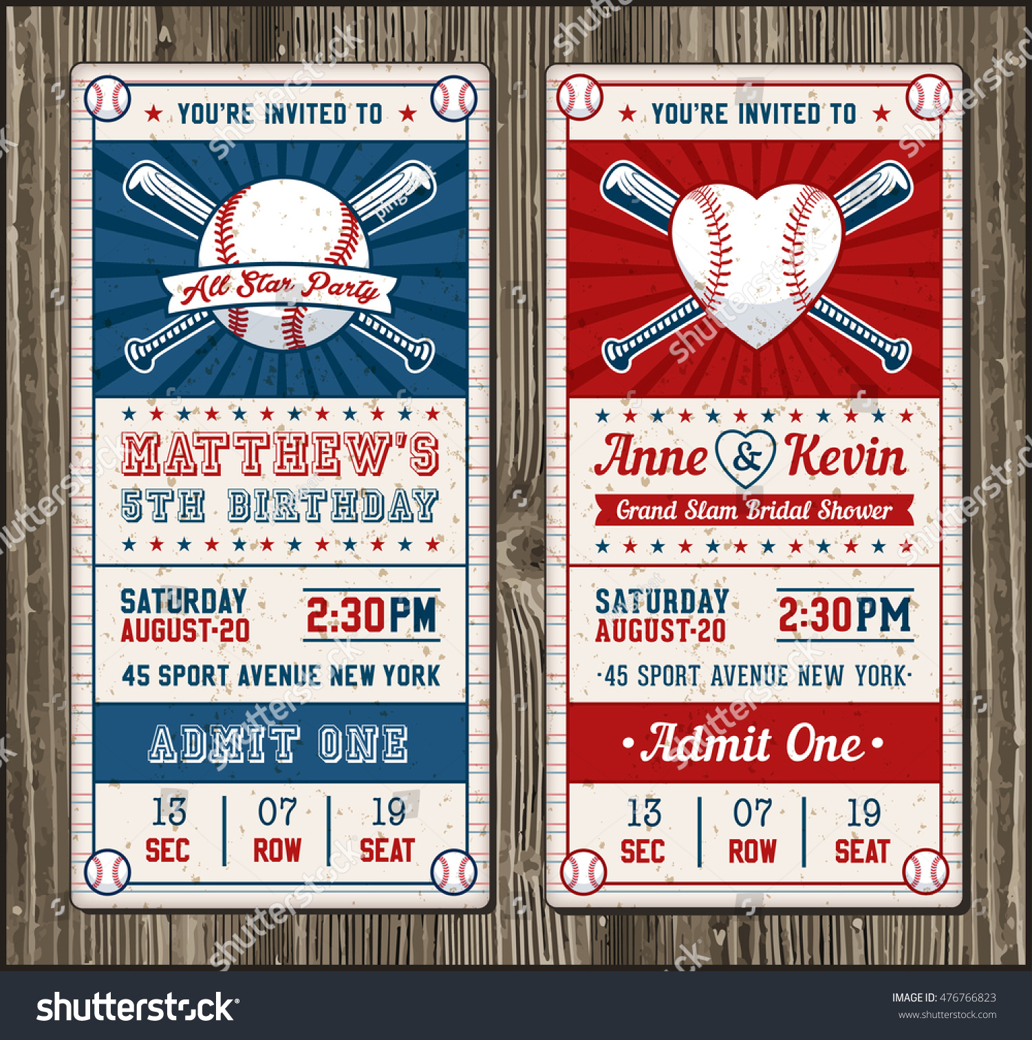 Vector Illustrations Vertical Invitation Tickets Baseball Stock