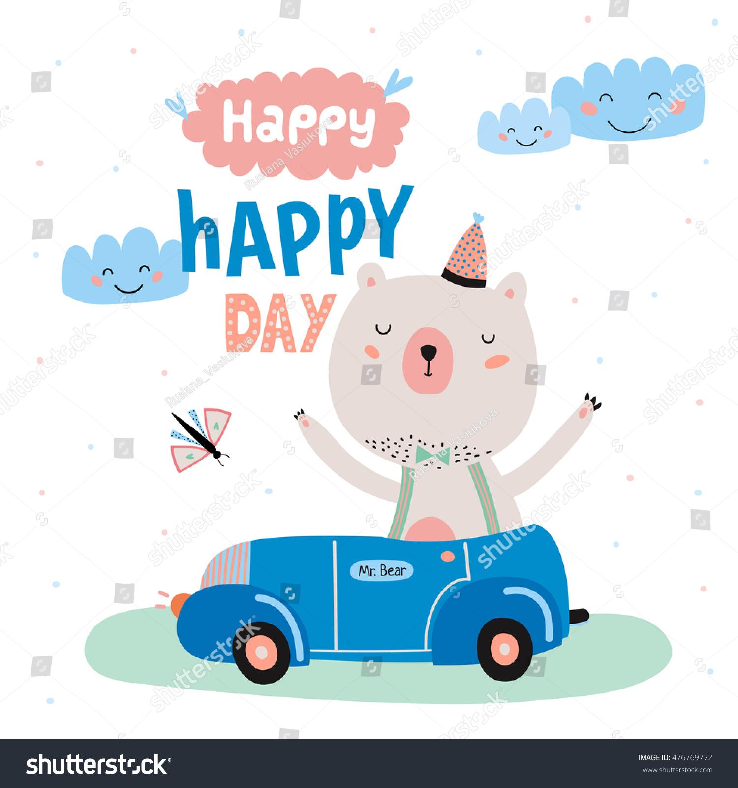 Animal Birthday Greeting Card Design Cute Vector 476769772 – Cute Birthday Greeting Cards