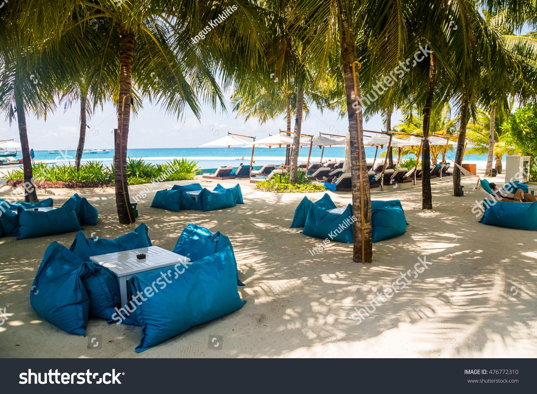 Amazing Sun Umbrellas Beach Chairs On Tropical Stock Photo Edit Now Machost Co Dining Chair Design Ideas Machostcouk