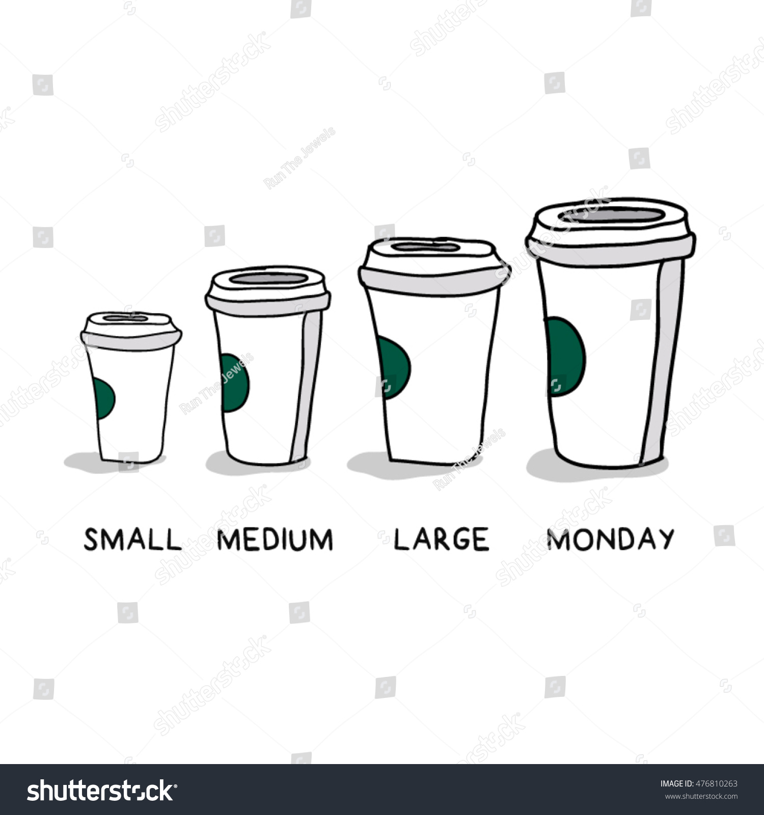 small medium large monday funny concept stock vector royalty free