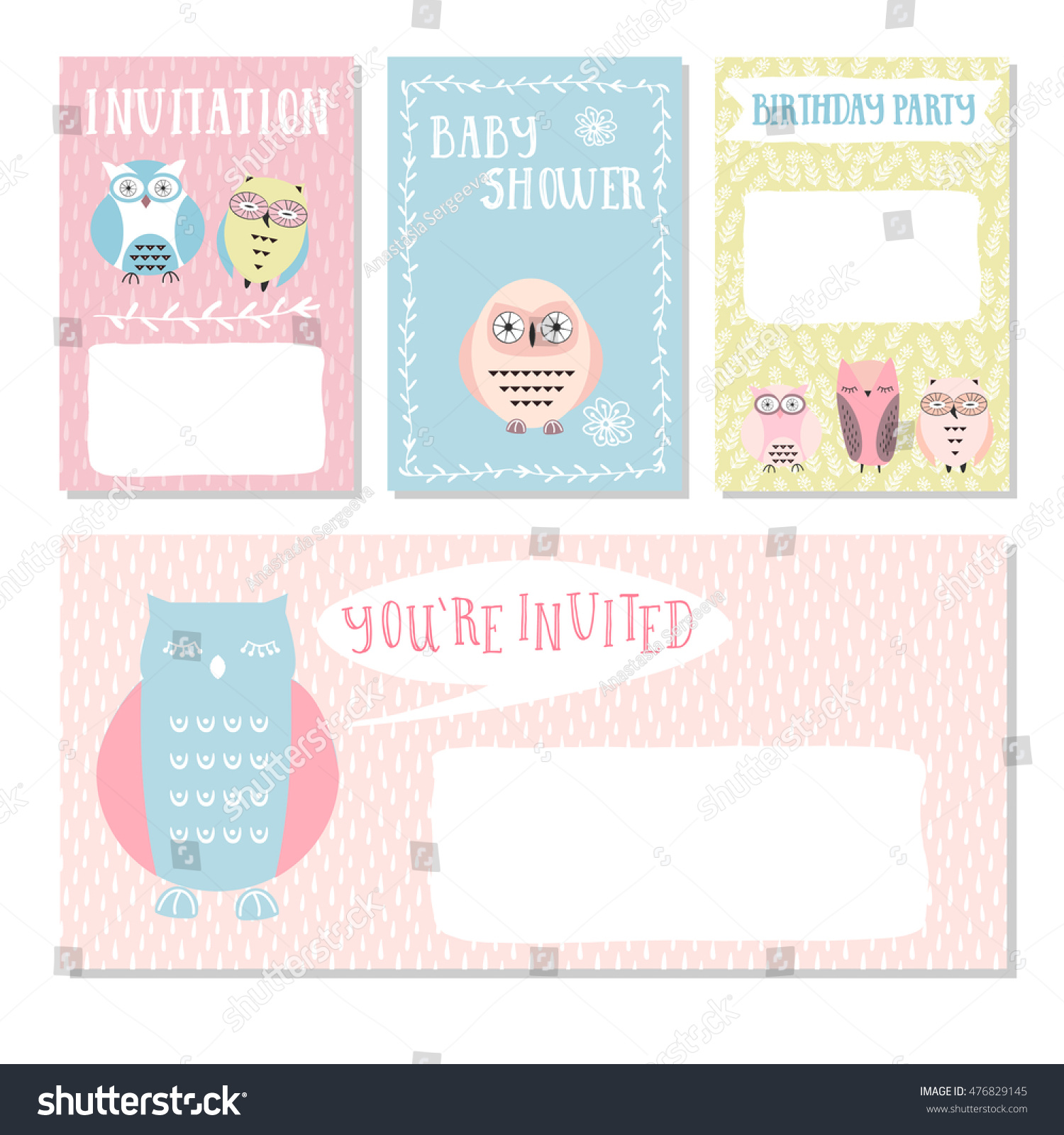 Owl invitation cards baby shower baby stock vector 476829145 owl invitation cards baby shower for baby boy and girl vector illustration stopboris Choice Image