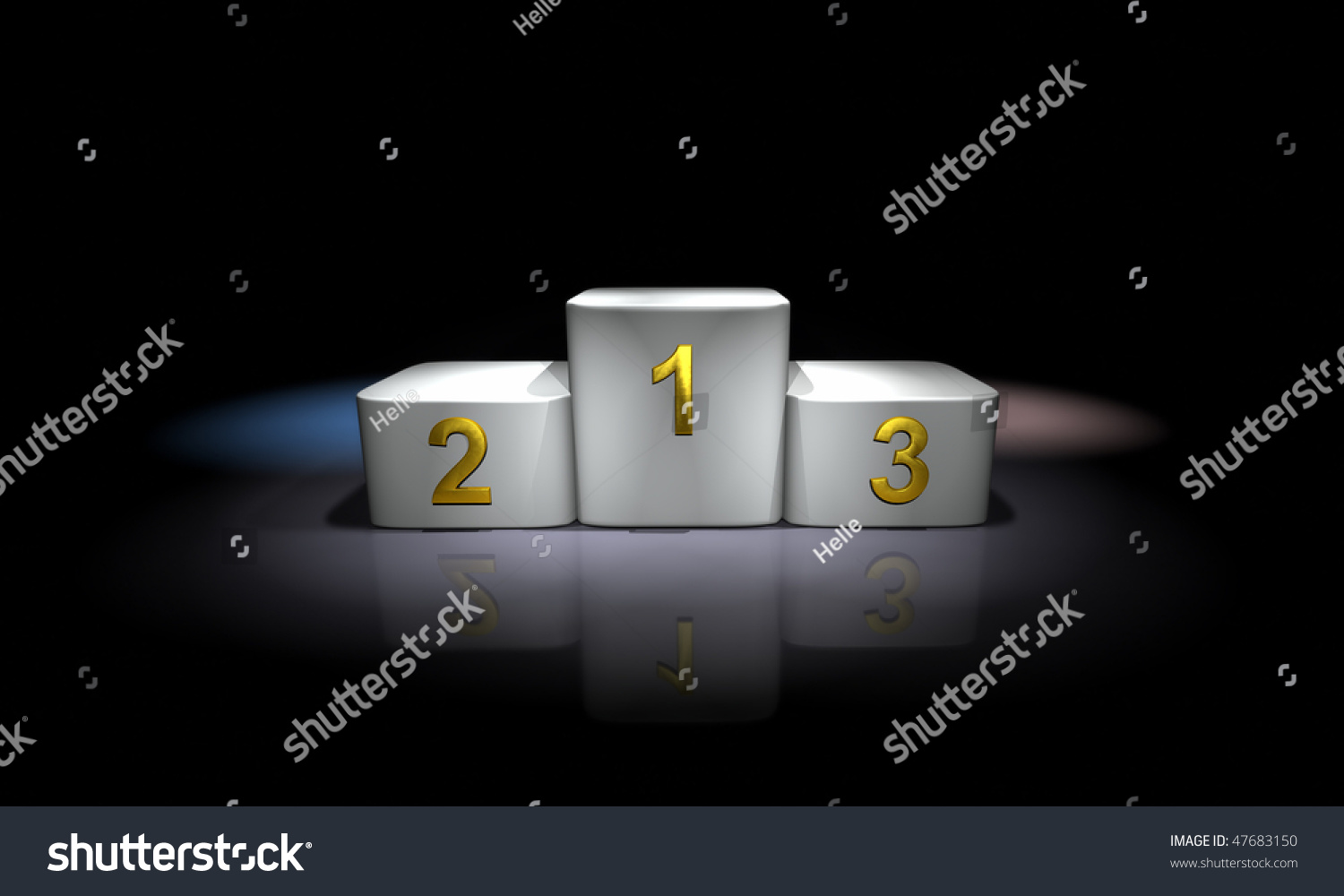 white prize podium lit with colored spotlights stock photo. Black Bedroom Furniture Sets. Home Design Ideas