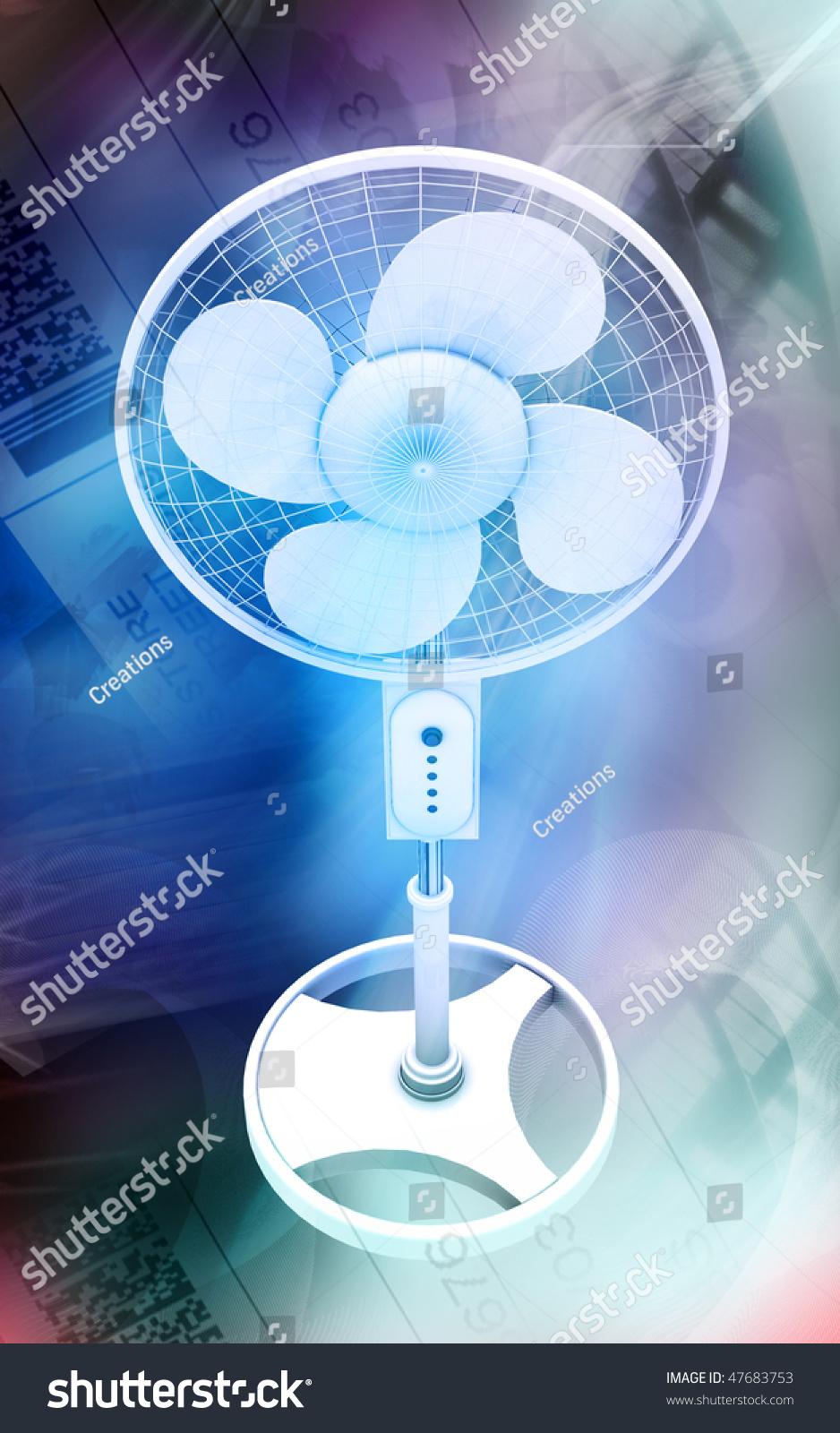 Digital Pedestal Fan : Digital illustration of a pedestal fan in colour