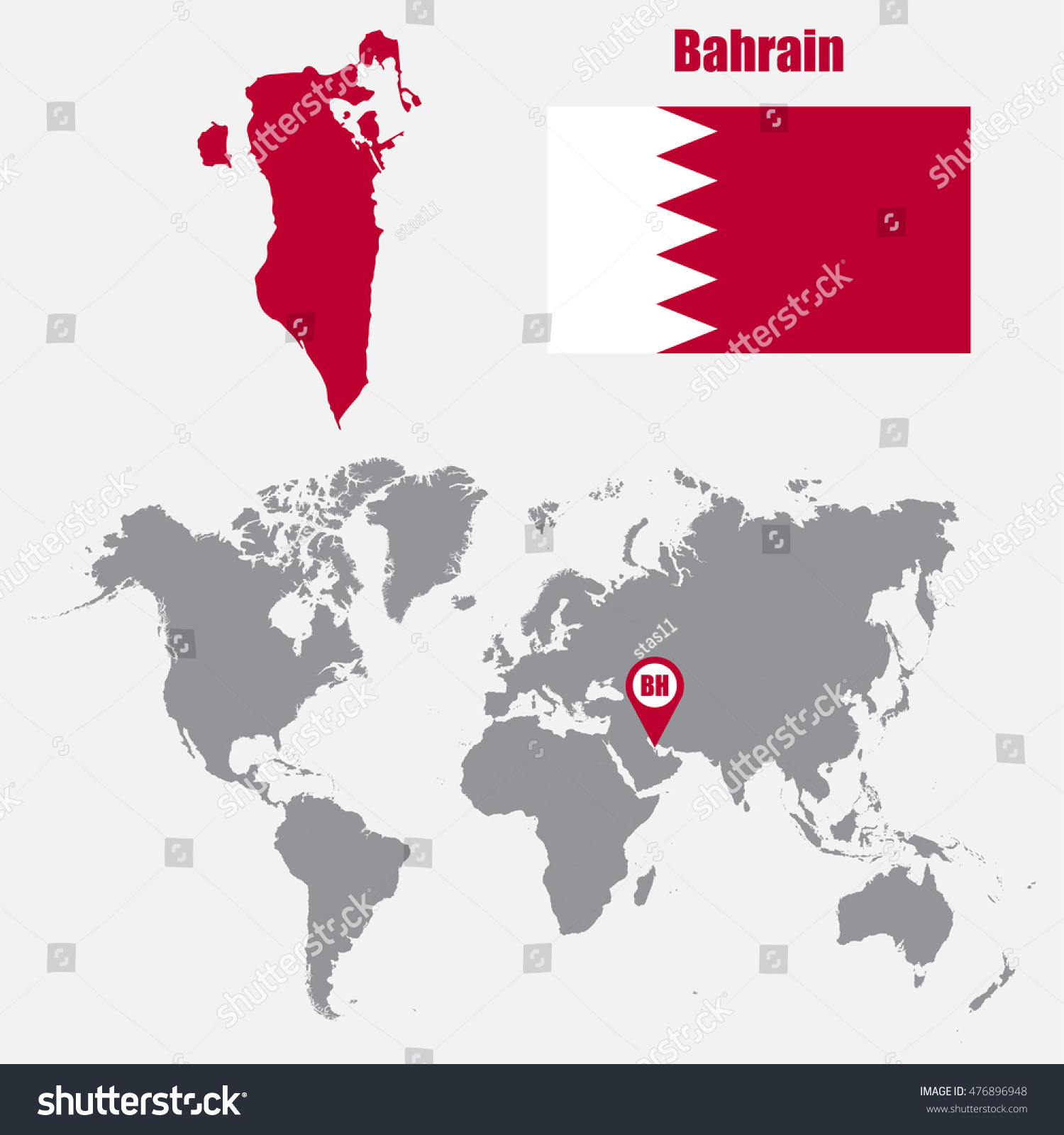 Bahrain map on world map flag stock photo photo vector bahrain map on a world map with flag and map pointer vector illustration gumiabroncs