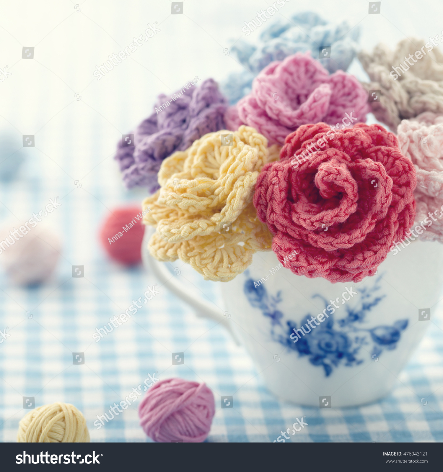 Bouquet colorful crochet flowers vintage cup stock photo royalty bouquet of colorful crochet flowers in a vintage cup izmirmasajfo