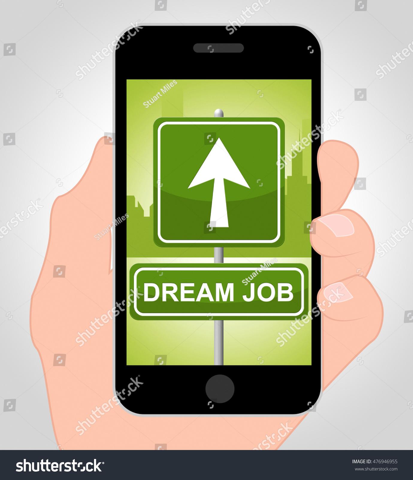 dream job online showing top job stock illustration  dream job online showing top job 3d illustration