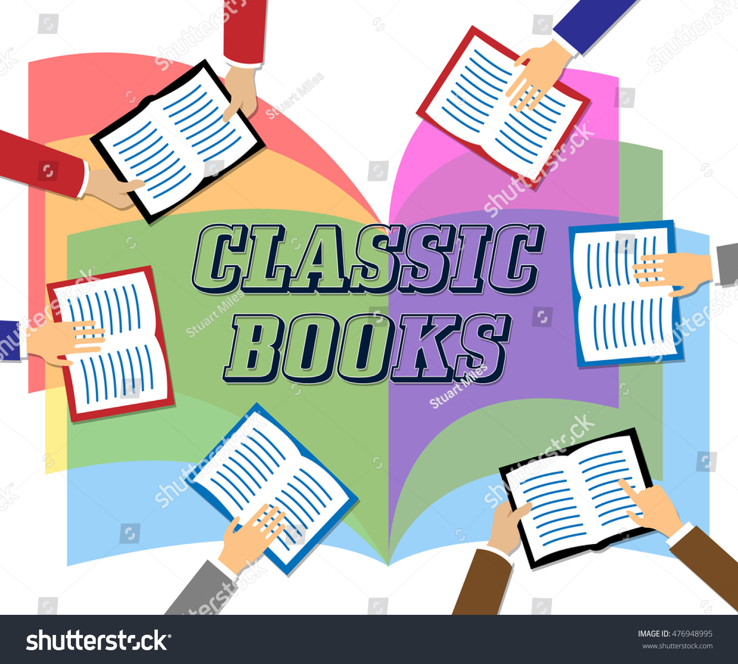 Classic Books Meaning Period Literature Fiction Stock Illustration