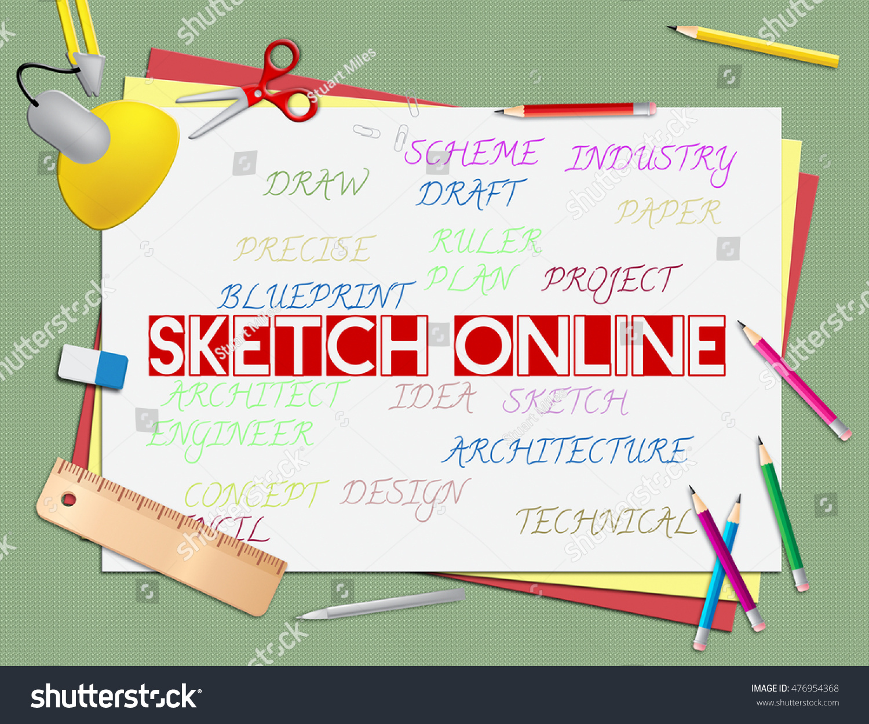Sketch Online Meaning Internet Drawing Design Stock Illustration ...