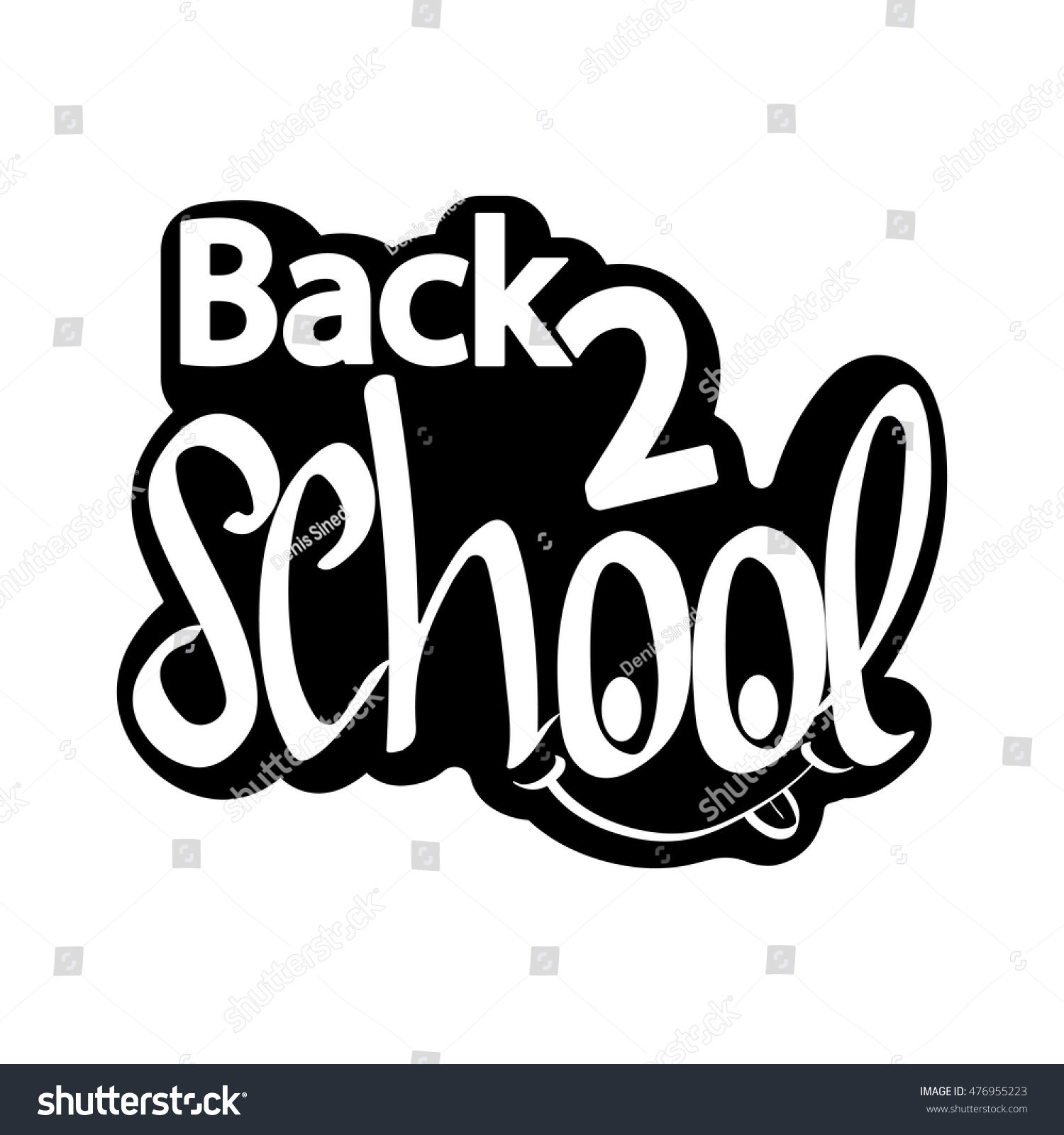 Back 2 School Isolated Sticker Calligraphy Stock Vector