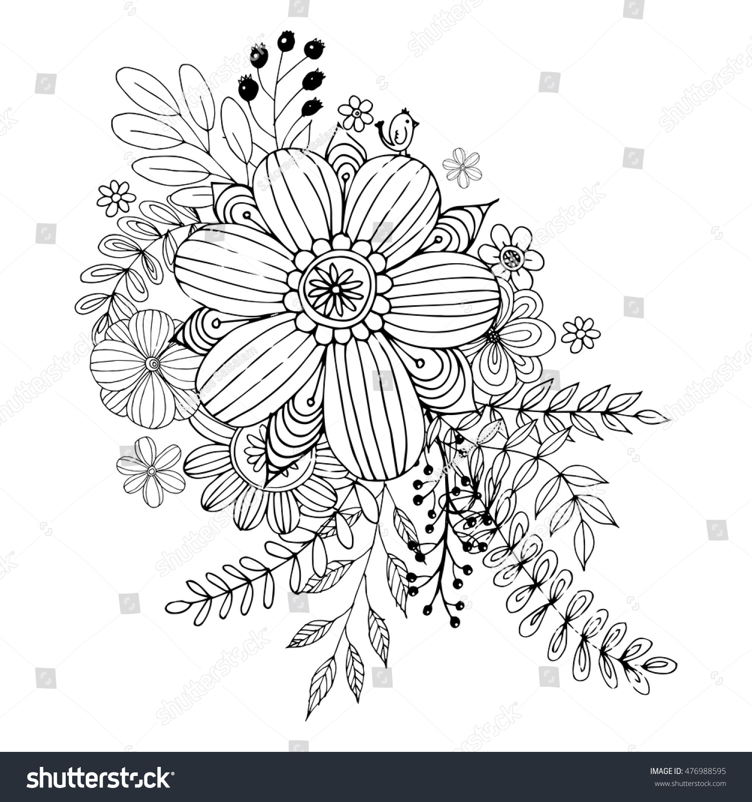 stock vector flower doodle vector coloring page with doodle flowers vector