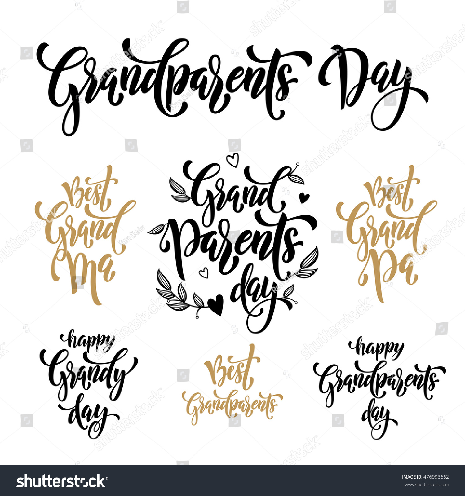 Happy Grandparents Day Modern Lettering Grandfather Stock Vector