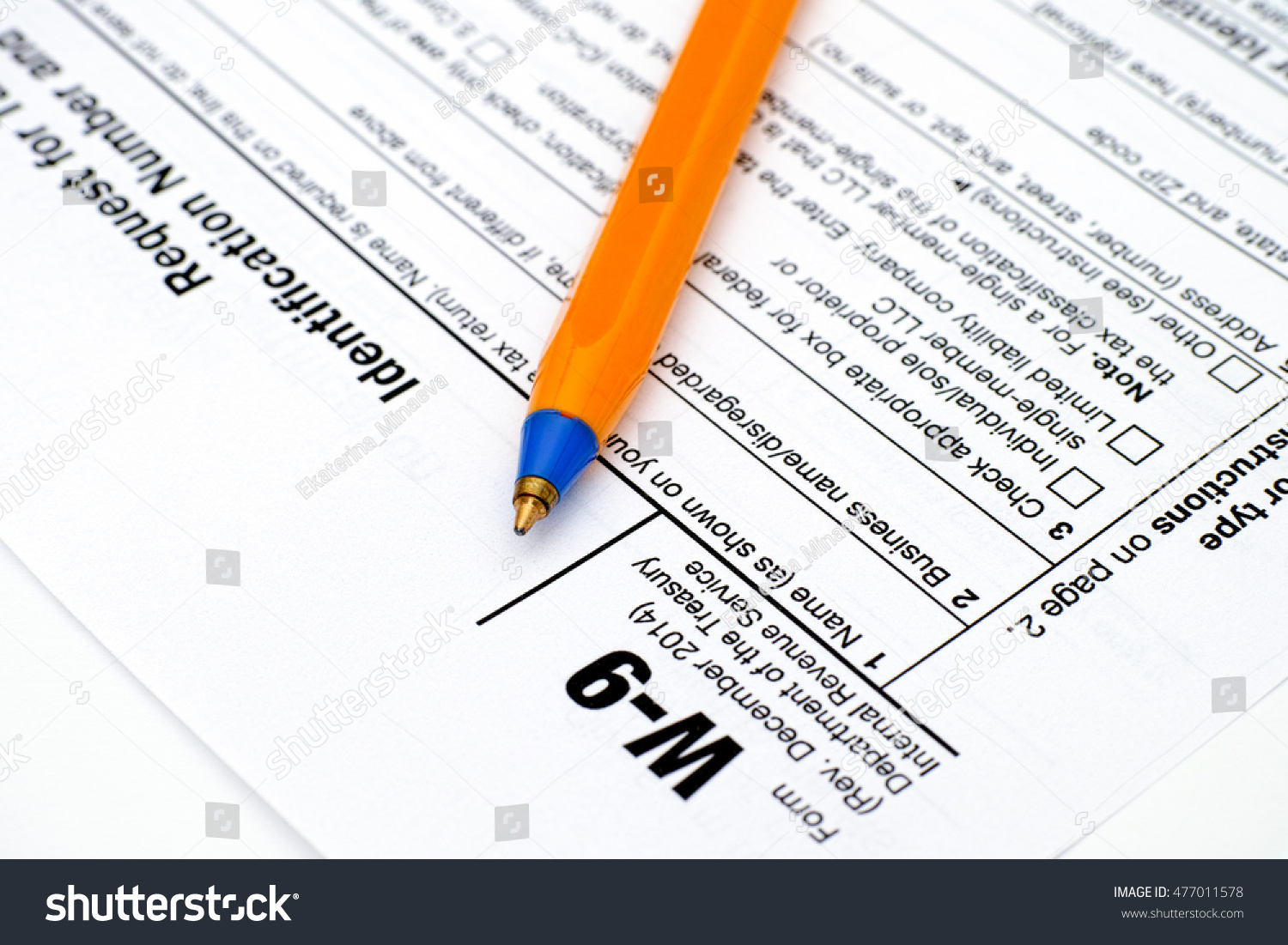 Application Form W 9 Request Taxpayer Identification Stock Photo