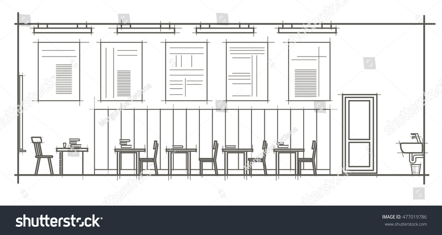 Linear architectural sketch interior classroom front view
