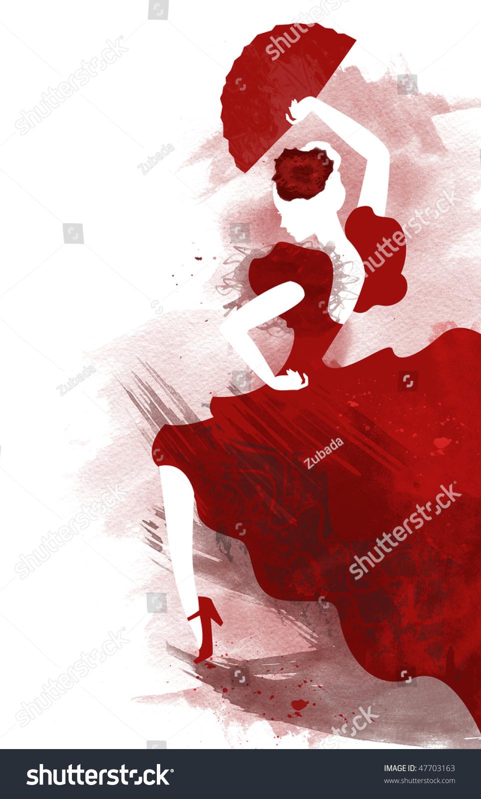 watercolor passionate flamenco dancer stock photo 47703163