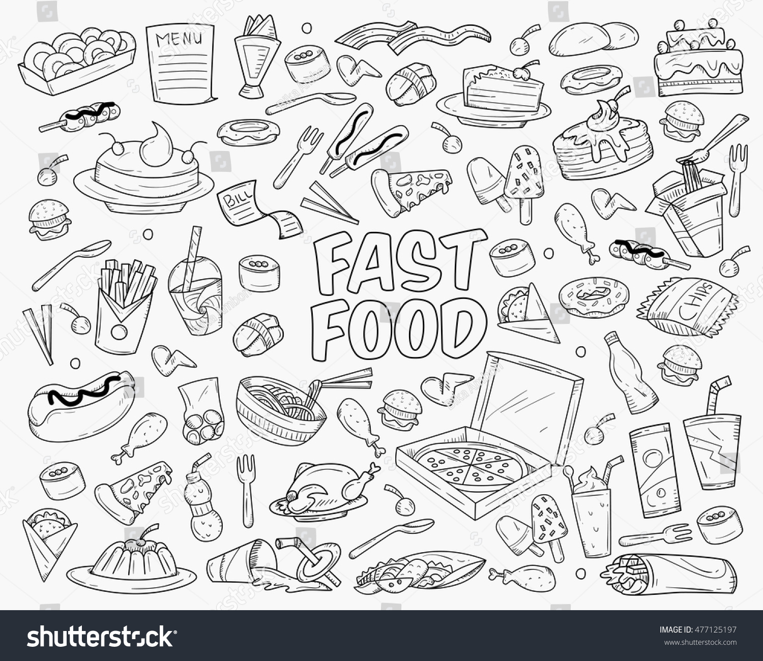 Fast Food Doodles Hand Drawn Objects Stock Vector 477125197 - Shutterstock