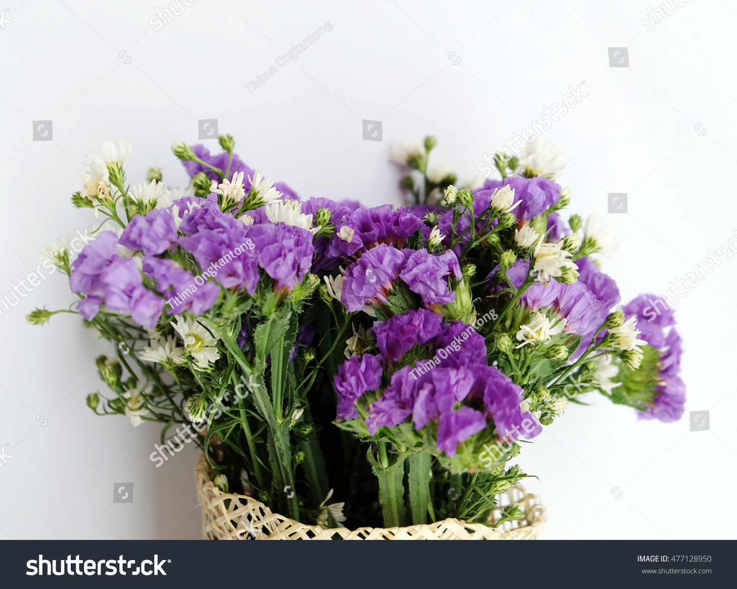 Purple And White Flowers Bouquet Ez Canvas