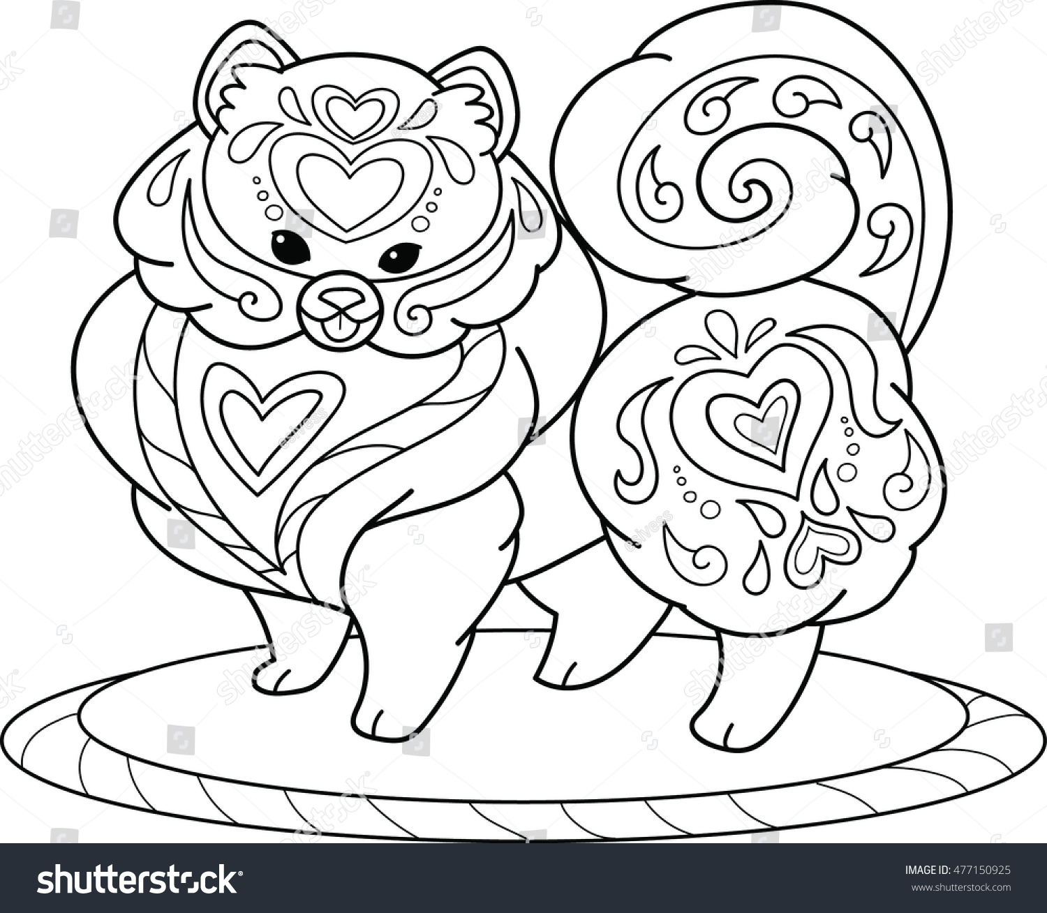 Pomeranian Coloring Page Stock Vector 477150925 - Shutterstock
