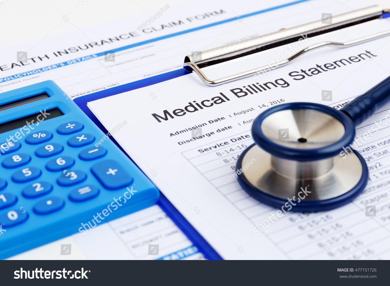 Medical Bill Health Insurance Form Calculator Stock Photo ...