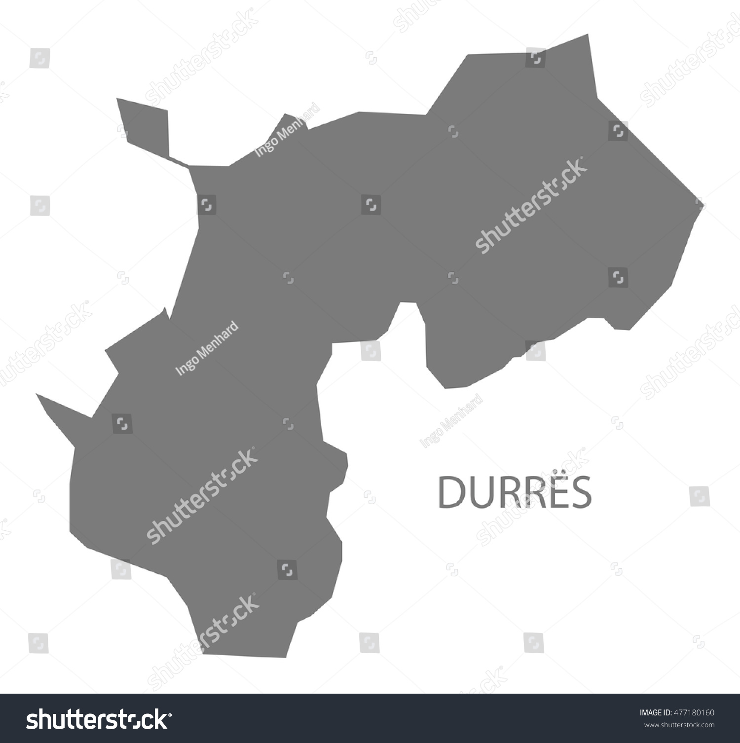 Durres Albania Map Grey Stock Vector 477180160 Shutterstock