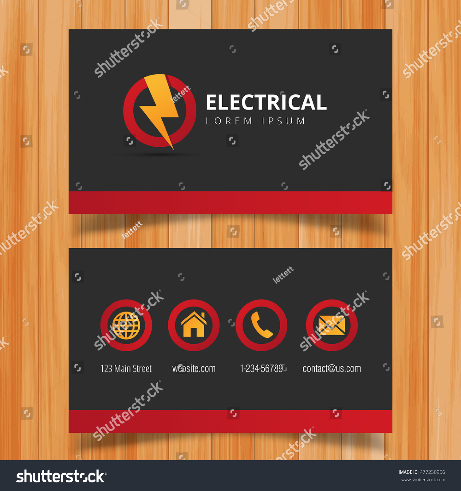 electric logo business card template stock vector