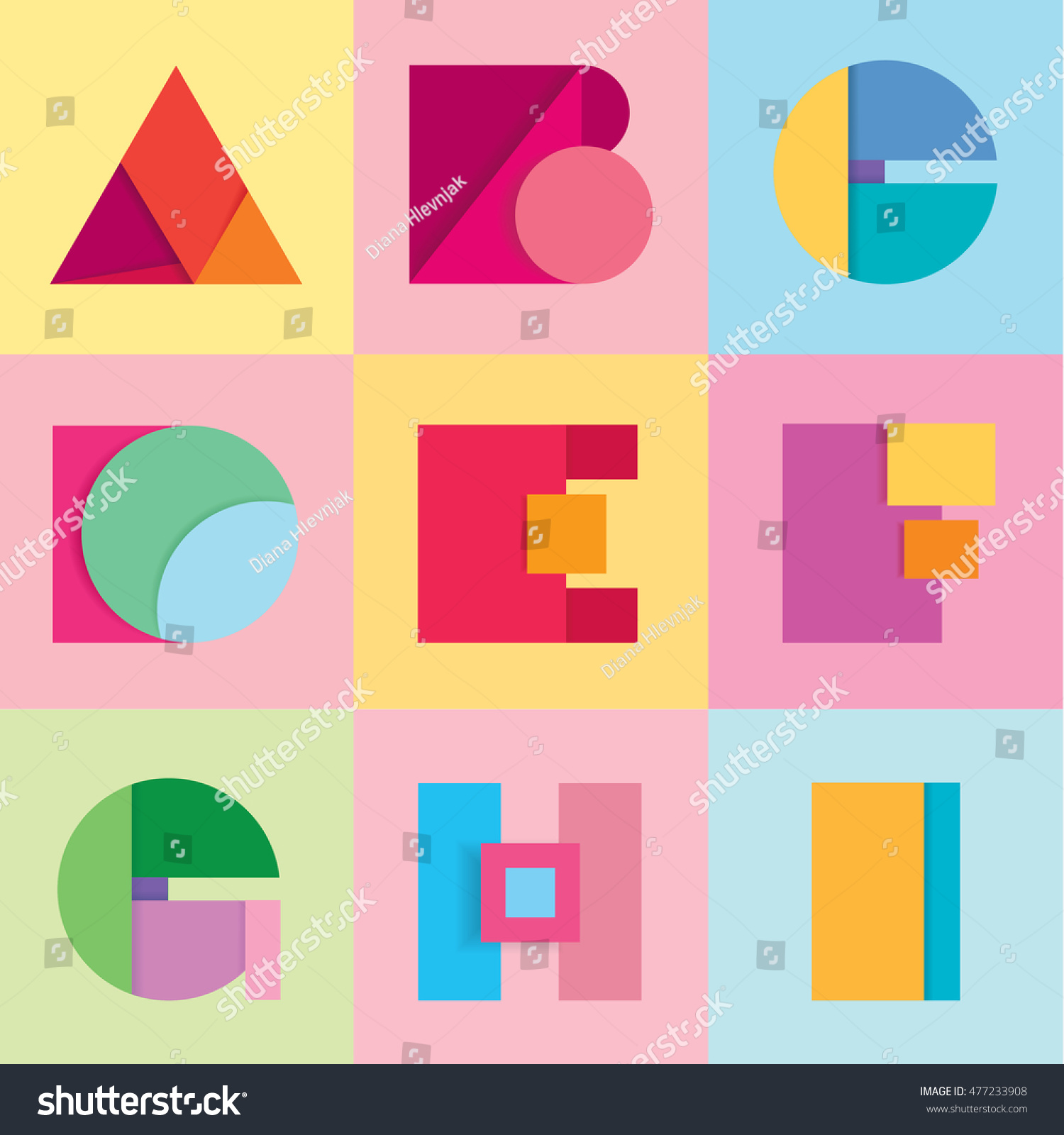 Fun Colorful Vivid Alphabet Letters Set Stock Vector (Royalty Free ...