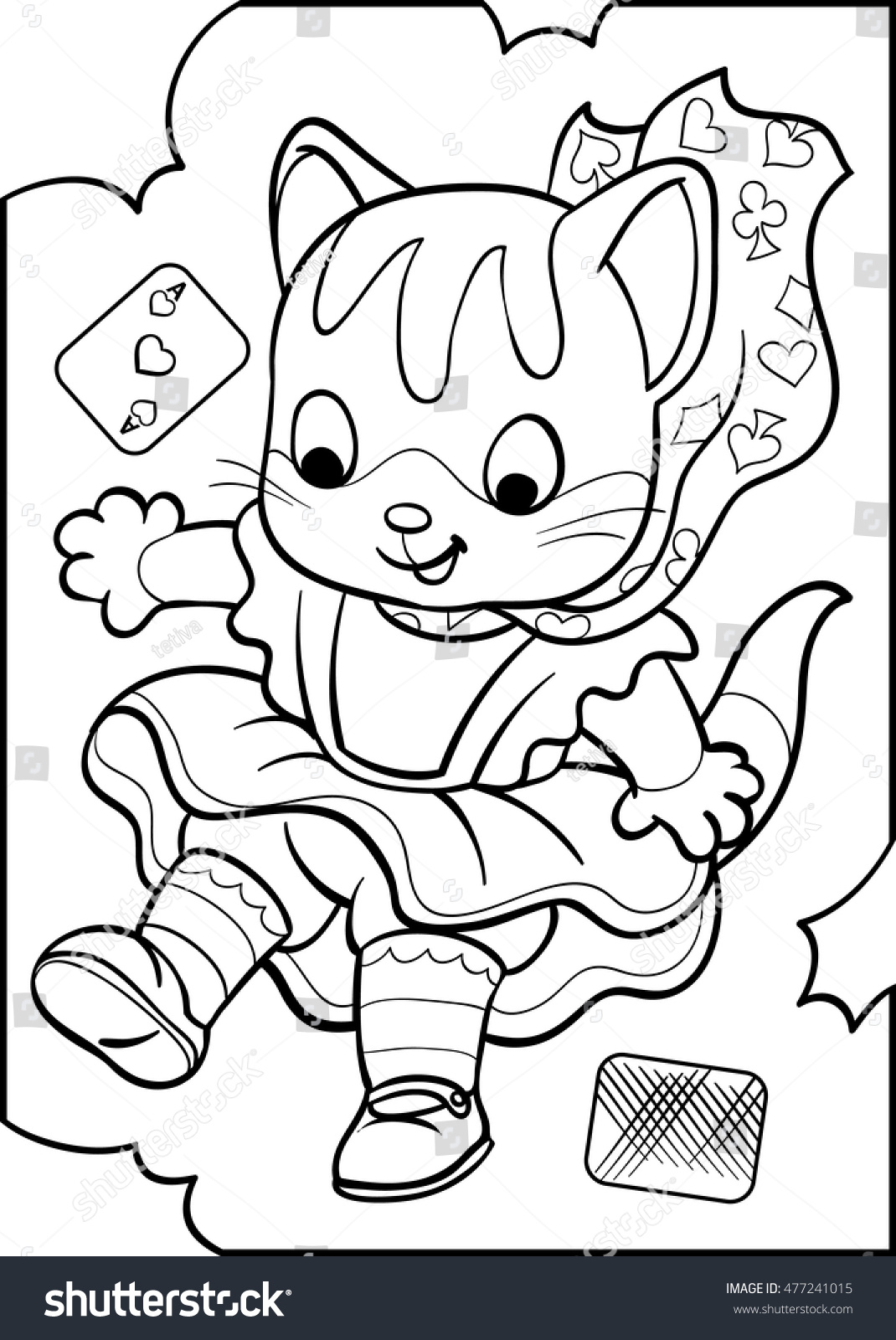 alice kitten alice wonderland coloring vector stock vector