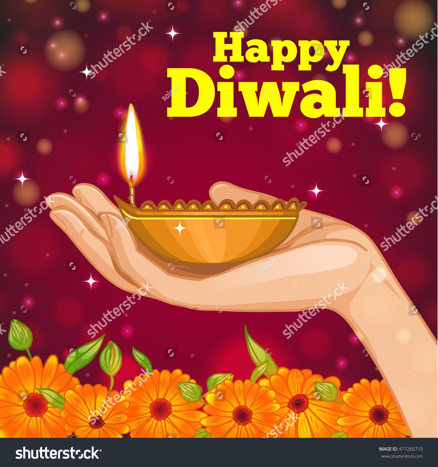 Greeting Card Diwali Diya Decoration Hand Stock Vector Royalty Free
