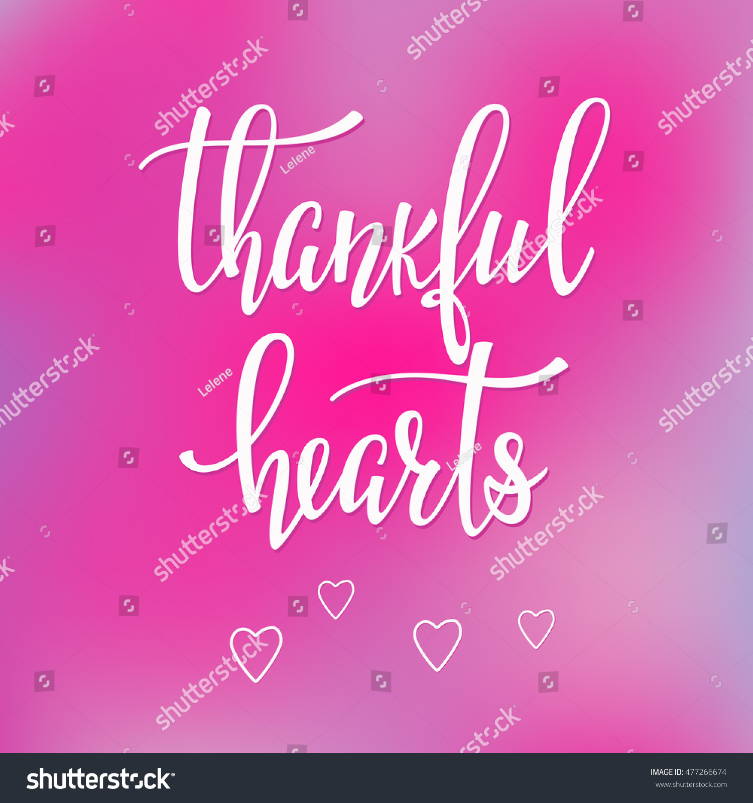 thankful hearts thanksgiving day simple lettering calligraphy