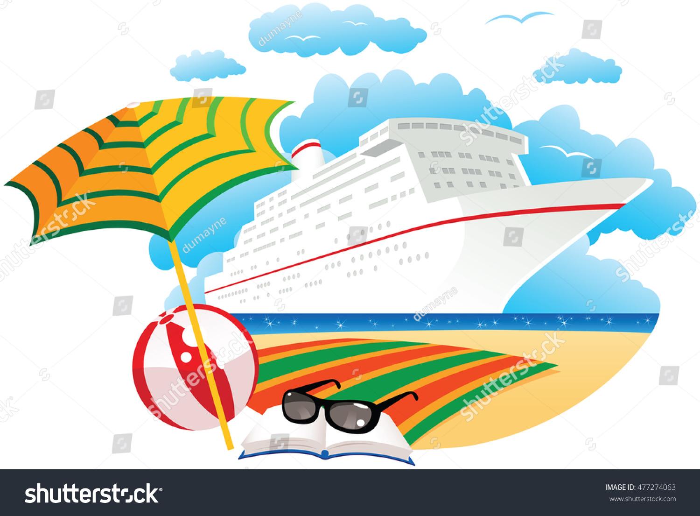 Cruise Ship Near Beach Stock Vector Shutterstock - Diagram of a cruise ship